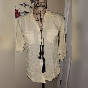 Forever 21 yellow pinstripe button up S